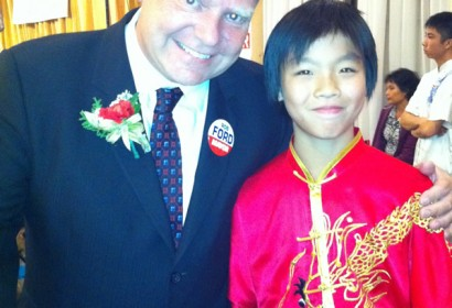 Benny Feng performed Kung Fu in Ford going for Toronto mayor campaign gala