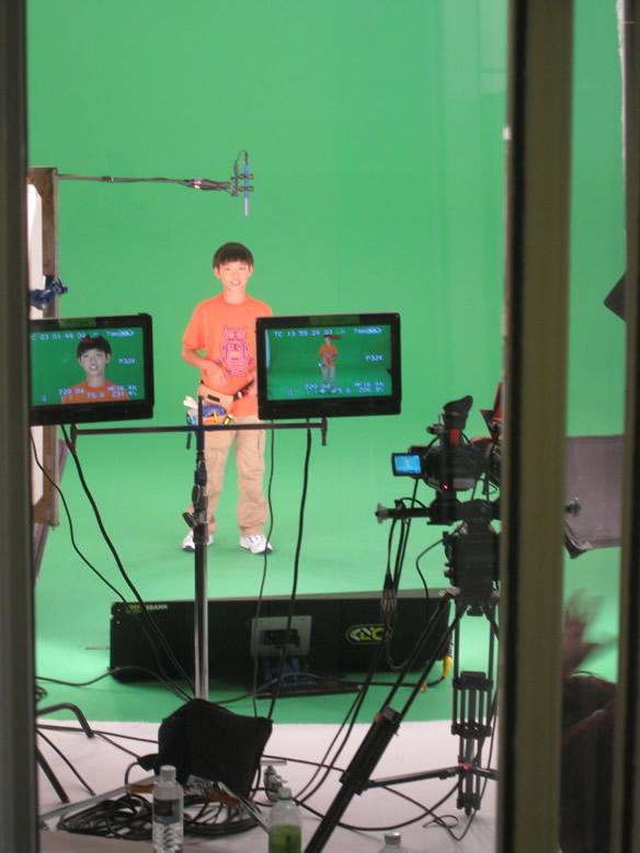 Benny Feng on set for The Doodlebops Rock n'Roll Show