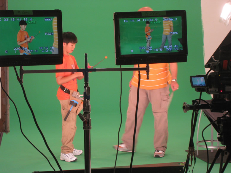 Benny Feng on set for The Doodlebops Rock n'Roll Show
