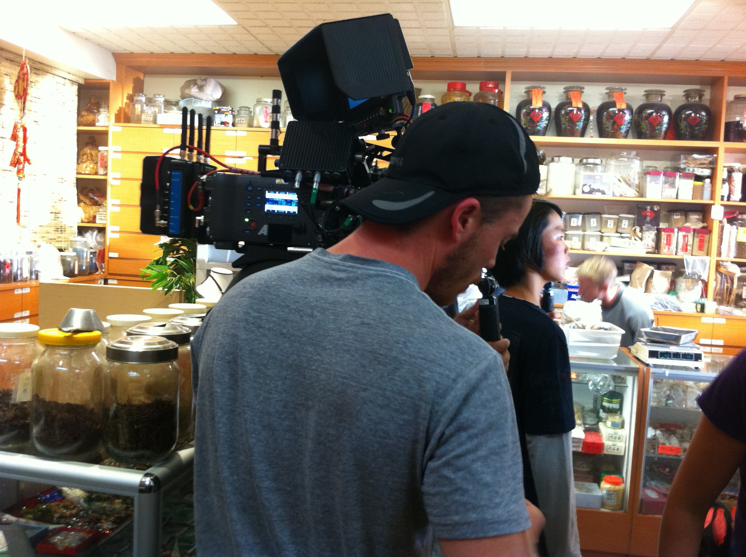 Benny Feng on set for Flashpoint