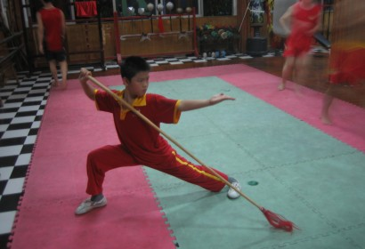Benny training in Shenzhen Kungfu Boot Camp (Spear routine)